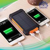 Banco impermeável portátil solar da potência 20000mAh do carregador móvel duplo do USB