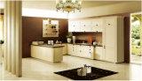 マットの現代白いラッカー木製の台所家具の台所食器棚