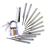 キャンバス袋15PCS Lockpickingが付いている透過方法のパッドロックは白いケイ素の箱(コンボの6)に用具を使う