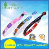 Оптовый изготовленный на заказ Wristband печатание передачи тепла тесемки пятна логоса с пластичным зажимом для случая
