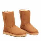 Чисто Handmade классицистические ботинки зимы женщин в каштане