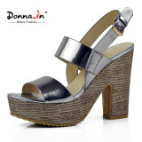 (Donna-in) Form-Glanzleder-spinnende Plattform-Absatz-Frauen-Sandelholze