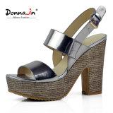 (Donna-в) сандалии женщин высокой пятки платформы лакированной кожи способа сотка