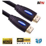 câble du support 4k HDMI du connecteur 1.4V de l'or 19pin