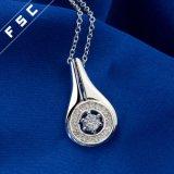 Silber des Großverkauf-18 '' überzogen ringsum antike hängende Halskette in CZ