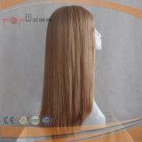 Reizend langer blonder voller Handtied Perücke-Typ seidige gerades Haar Sytle Frauen PU-Rand-Perücken