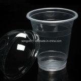 PP는 360ml 덮개를 가진 유백색 차 & 주스 플라스틱 컵을 지운다