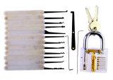 Transparentes Praxis-Vorhängeschloß mit Segeltuch-Beutel 15PCS Lockpicking bearbeitet weißen Silikon-Kasten (kombiniertes 6)