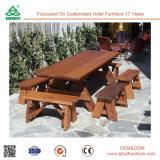 Mesa e mesa de jantar ao ar livre em madeira para piscina