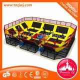 Trampolín del equipo de la aptitud del parque de atracciones de los niños con la red de seguridad