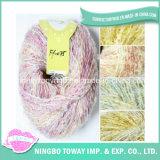 Filé de fantaisie laine-acrylique teint de tricotage à la main coloré