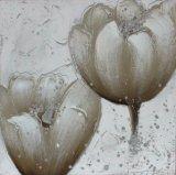 Peinture peinte à la main de toile de pétrole de vente de type chaud de fleur