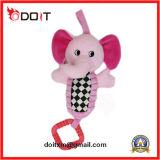 Jouet de bébé de peluche de jouet de bébé d'éléphant rose de musique avec la bride de fixation