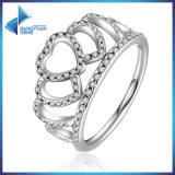 100% Tiara van 925 de Echte Zilveren Harten, de Duidelijke Ring van de Vinger van de Vrouwen van CZ Compatibel met de Originele Ring van de Stemming van Juwelen