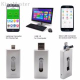 Celulares USB 3.0 Flash Drives para iPhone 5 5s 6 6s 7 Plus, iPad 32 GB OTG Ios Lightning Apple Memória Flash Memory Card Storage 3in1 Kingmaster
