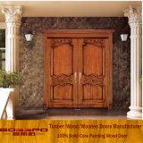 Porte d'entrée en bois de lame de teck solide double (GSP1-017)