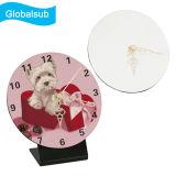 Globalsub reloj de madera en blanco de MDF con su impresión de imagen de forma redonda