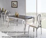 普及した金属のホーム家具のためのガラス上のステンレス鋼のダイニングテーブル
