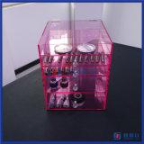 Kundenspezifischer rosafarbener kosmetischer Verfassungs-acrylsauerorganisator mit Diamant-Drehknöpfen