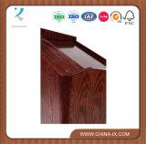 Leggio di legno personalizzato per il pavimento con le mensole e 2 rotelle