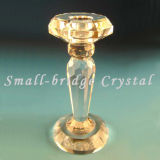 Sostenedor de vela cristalino del pilar del oro (ZT0008)