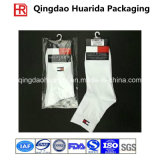 Calcetines transparentes plásticos de OPP que empaquetan el bolso con el gancho de leva