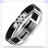 ステンレス鋼の宝石類のゴム製ブレスレットのシリコーンのブレスレット(LB239)