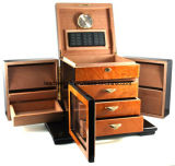 Deluxe Great Dial Hygrometer Spanish Cedar Keyed Lock Set Cigar Box-200 Cigares