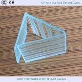 酸が付いているガラスかガラスドアか窓ガラスを和らげることはガラスをエッチングした