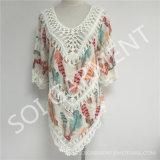 女性(SOI1736)のための夏の方法3/4袖のかぎ針編みの印刷の長いブラウス