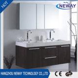 Оптовой шкаф ванной комнаты двойной раковины PVC установленный стеной с зеркалом