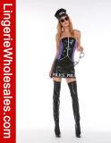 Сексуальная кожа и сетка промелькивают передний Costume Cosplay женщина-полицейскиев