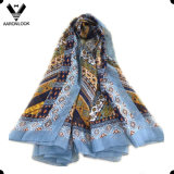 Lady's Stylish High Quality Geometry Print 100% Silk Ethnic Wind Scarf
