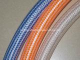 Boyau de jardin tressé de tissu-renforcé de pipe claire transparente flexible en plastique de douche de PVC