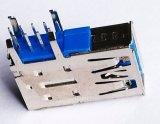 USB3.0 connecteur femelle, série a, paquet simple. Ange droit par type de trou, 9 positions