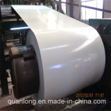 Bobine en acier galvanisée enduite d'une première couche de peinture blanche de Ral 9003