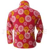 가득 차있는 지퍼에 의하여 인쇄되는 양털 재킷