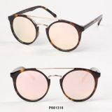 Óculos de sol redondos da forma das mulheres com ponte dobro