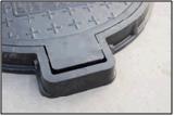 Couverture de trou d'homme carrée/ronde en verre de fibre de C/O 600mm