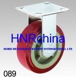 Roter PU-Schritt-industrielle steife Fußrolle