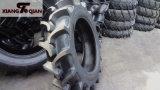 Neumáticos Tractor en campo de arroz y campo de arroz