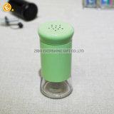 Grünes Glas-ÖlCruet mit Stopper-und Metallströmender Tülle
