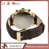 Hochwertige künstliche Quarz-Leder-Uhr-Männer