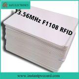El doble echa a un lado tarjeta imprimible del plástico 13.56MHz M1 RFID IC