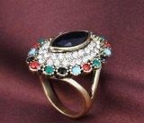 Anillo del Rhinestone de la vendimia de Rose de la flor de las mujeres coloridas de la plata