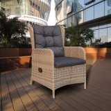 現代余暇の家具の屋外の食事セット(J6571HR)のためのアルミニウム半分の円形の藤の椅子