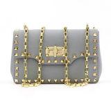 La messagère de femmes met en sac la chaîne d'or Emg4769 en métal de sac à main d'épaule de cuir véritable