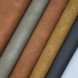 よい摩耗カシミヤ織の衣服の革(HS-M049)のための抵抗力があるレトロ様式PUの革