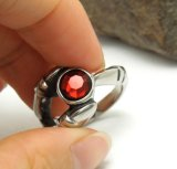 Titanium Steel Men's Ring Vintage Blood Red Crystal Inlaid