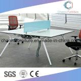 Kundenspezifischer Farben-wahlweise freigestellter Querbüro-Melamin-Schreibtisch-Arbeitsplatz mit weißes Metallrahmen